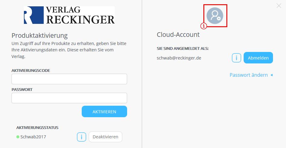 Öffnen der Cloud-Account-Verwaltung