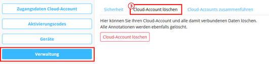 Cloud-Account löschen