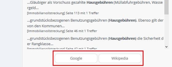 Übertragung der Suchbegriffe in Google oder Wikipedia